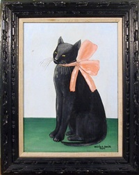 cat with pink bow by vestie e. davis