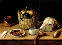 still life with ram's head by josé agustín arrieta