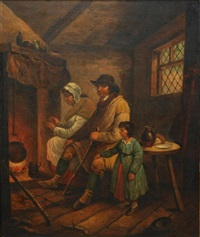 family at fireside by george morland