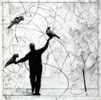 bird catching, set iii by william kentridge