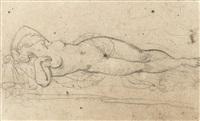 etude de femme pour le trio érotique et le combat d'hercule et hippolita, reine des amazones (recto-verso) by théodore géricault