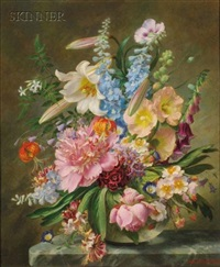 arrangement with lilies (+ still life with roses, bluebells and poppies; 2 works) by john e. nicholls