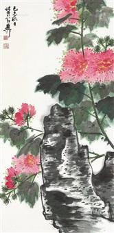 泉石芙蓉图 立轴 设色纸本 by xie zhiliu