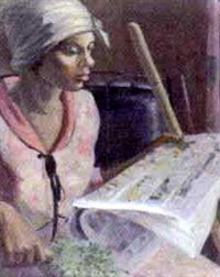 woman reading a newspaper by frank woodberry applebee