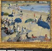 a line of beach umbrellas by martha walter