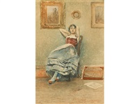 a portrait of a young lady in traditional dress reclining on a salon chair, with her arms raised by carlo chiostri