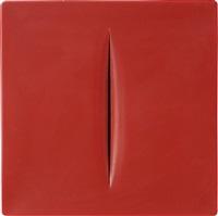 concetto spaziale (rosso) by lucio fontana