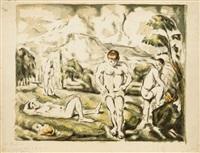 les baigneurs (grande pl.) by paul cézanne
