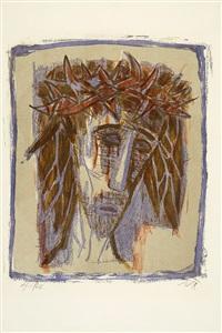 christus ii (kopf, nach rechts blickend, haare schulterlang, dunkel auf hellem grund) by otto dix