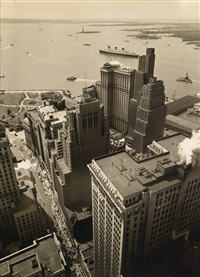 broadway to the battery (from the irving trust company building) by berenice abbott