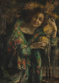 figura femminile con vaso di fiori by antonio mancini