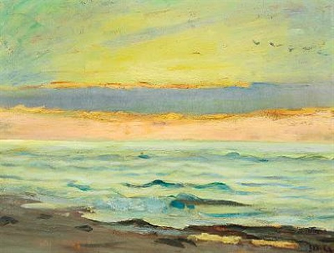 view from the beach over the sea the sky is coloured in orange blue green and yellow by michael peter ancher