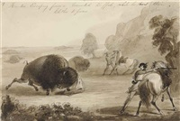 hunters escaping from a wounded buffalo, while he tears their clothes to pieces by alfred jacob miller