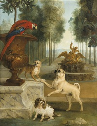 three dogs and a macaw in a park by jean-baptiste oudry