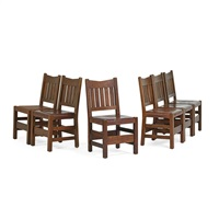six v-back dining chairs by gustav stickley