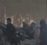 figures on the bridge by charles hoffbauer