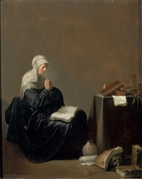 an old woman at prayer with vanitas objects nearby by willem de poorter