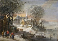 winter landscape with figures ice skating by jan brueghel the younger