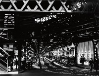 under the el at the battery, new york by berenice abbott