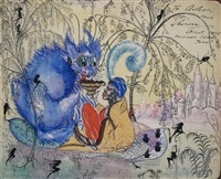 fantasy garden scene by leonora carrington