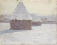 winter haystacks at crecy-en-brie, france by guy rose