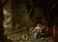 familia en interior by david ryckaert iii