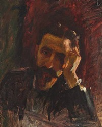 a bearded man in deep thoughts by christian krohg