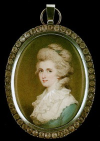 a portrait of a lady with blue ribbon in her powdered hair by edward miles