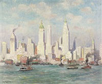 new york skyline (from a staten island ferry boat) by guy carleton wiggins