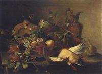 stillleben mit früchten und wildente by edmond morin