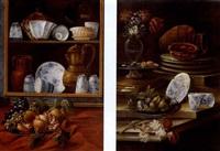 raffiguranti il primo un piatto di frutta posto davanti una dispensa quasi in forma di trompel'oeil (+ another similar; pair) by cristoforo munari