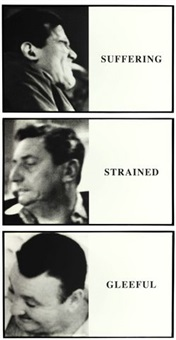 prima facie: suffering / strained / gleeful (in 3 parts) by john baldessari