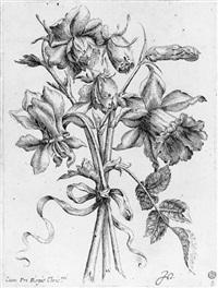 bouquet de roses, iris et pieds d'alouette by nicolas de la fleur
