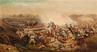 chaotic battle between prussian cuirassiers and austrian infantry by alexander ritter von bensa