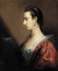portrait of a lady in a red dress, reading a book by john astley