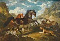 wild horses in a landscape by raoul millais