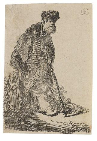 bärtiger mann im mantel und mit pelzmütze gegen einen erdhügel gelehnt by rembrandt van rijn