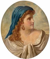 junge dame mit blauem kopftuch by marcel johann von zadorecki