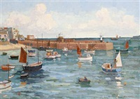 st. ives harbor (+ sketch; 2 works) by eric ward