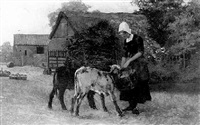 milkmaid feeding calves by john mallord bromley