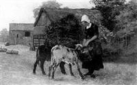 milkmaid feeding calves by john mallord bromley