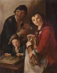 suonatrice di gironda, ragazzo con salterio e giovane con brocca e pipa by giacomo francesco cipper