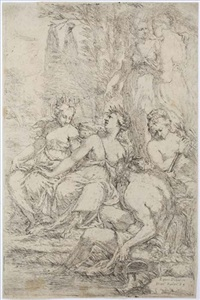 a river god and five muses by giuseppe diamantini