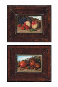 summer: still life of strawberries, peaches and grapes; autumn: still life of apples and cobnuts (pair) by william j. (webbe) webb
