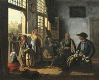 a woman and her children in an interior by an open door, an old couple by a spinning wheel seated nearby, townsfolk beyond by cornelis van cuylenburg