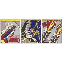 as i opened fire poster triptych (3 works) by roy lichtenstein
