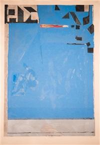 blue with red by richard diebenkorn
