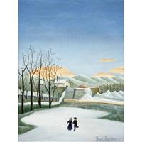 paysage aux patineurs by henri rousseau