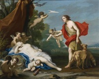 bacchus and ariadne; venus and adonis (2 works) by jacopo amigoni
