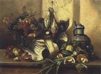 stillleben mit früchten, pilzen und schnepfe by edmond morin